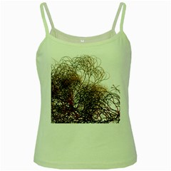 Digitally Painted Colourful Winter Branches Illustration Green Spaghetti Tank