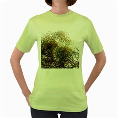 Digitally Painted Colourful Winter Branches Illustration Women s Green T Shirt
