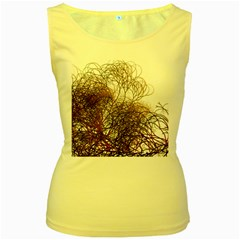 Digitally Painted Colourful Winter Branches Illustration Women s Yellow Tank Top