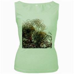 Digitally Painted Colourful Winter Branches Illustration Women s Green Tank Top
