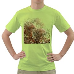 Digitally Painted Colourful Winter Branches Illustration Green T Shirt