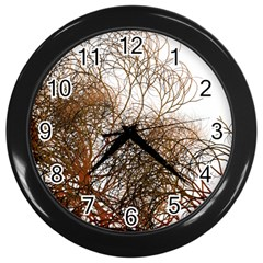 Digitally Painted Colourful Winter Branches Illustration Wall Clocks (black)