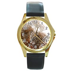 Digitally Painted Colourful Winter Branches Illustration Round Gold Metal Watch