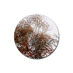 Digitally Painted Colourful Winter Branches Illustration Rubber Coaster (Round)