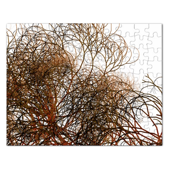Digitally Painted Colourful Winter Branches Illustration Rectangular Jigsaw Puzzl
