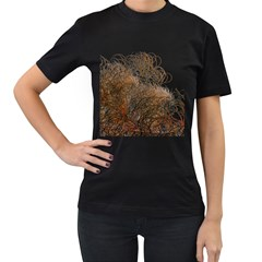 Digitally Painted Colourful Winter Branches Illustration Women s T-Shirt (Black) (Two Sided)