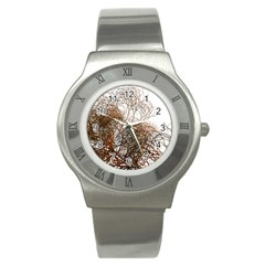 Digitally Painted Colourful Winter Branches Illustration Stainless Steel Watch