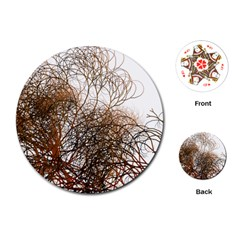 Digitally Painted Colourful Winter Branches Illustration Playing Cards (round)