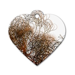 Digitally Painted Colourful Winter Branches Illustration Dog Tag Heart (Two Sides)