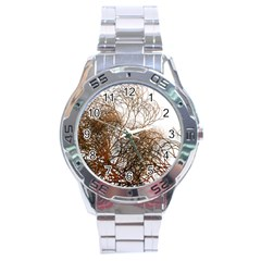 Digitally Painted Colourful Winter Branches Illustration Stainless Steel Analogue Watch