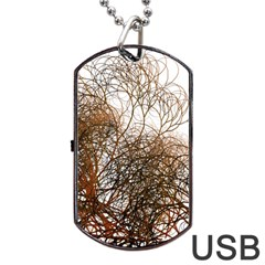 Digitally Painted Colourful Winter Branches Illustration Dog Tag USB Flash (Two Sides)