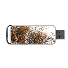 Digitally Painted Colourful Winter Branches Illustration Portable USB Flash (One Side)
