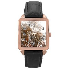 Digitally Painted Colourful Winter Branches Illustration Rose Gold Leather Watch