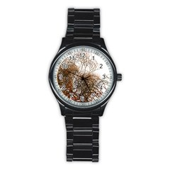 Digitally Painted Colourful Winter Branches Illustration Stainless Steel Round Watch
