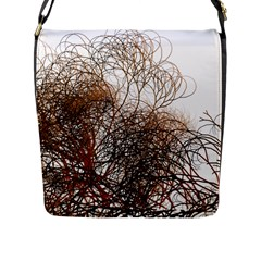 Digitally Painted Colourful Winter Branches Illustration Flap Messenger Bag (L)