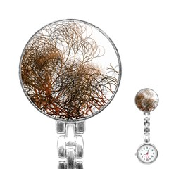 Digitally Painted Colourful Winter Branches Illustration Stainless Steel Nurses Watch
