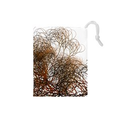 Digitally Painted Colourful Winter Branches Illustration Drawstring Pouches (Small)