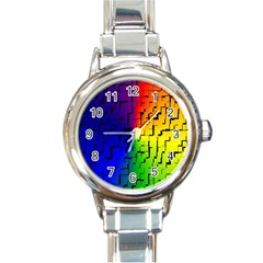 A Creative Colorful Background Round Italian Charm Watch