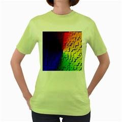 A Creative Colorful Background Women s Green T-Shirt