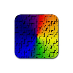 A Creative Colorful Background Rubber Square Coaster (4 Pack)