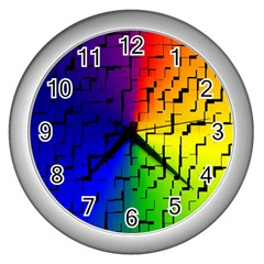 A Creative Colorful Background Wall Clocks (Silver)