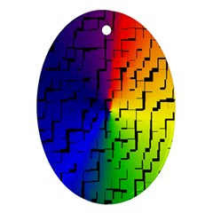 A Creative Colorful Background Oval Ornament (two Sides)