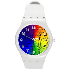 A Creative Colorful Background Round Plastic Sport Watch (M)