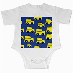 A Fun Cartoon Taxi Cab Tiling Pattern Infant Creepers