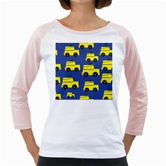 A Fun Cartoon Taxi Cab Tiling Pattern Girly Raglans
