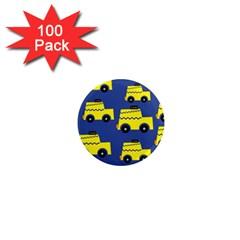 A Fun Cartoon Taxi Cab Tiling Pattern 1  Mini Magnets (100 Pack)