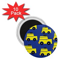 A Fun Cartoon Taxi Cab Tiling Pattern 1.75  Magnets (10 pack)