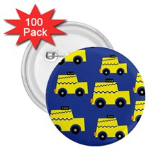 A Fun Cartoon Taxi Cab Tiling Pattern 2.25  Buttons (100 pack)