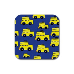 A Fun Cartoon Taxi Cab Tiling Pattern Rubber Square Coaster (4 Pack)