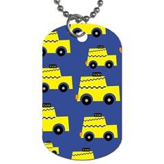 A Fun Cartoon Taxi Cab Tiling Pattern Dog Tag (One Side)