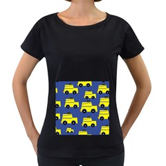 A Fun Cartoon Taxi Cab Tiling Pattern Women s Loose-Fit T-Shirt (Black)