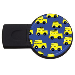 A Fun Cartoon Taxi Cab Tiling Pattern USB Flash Drive Round (4 GB)
