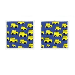 A Fun Cartoon Taxi Cab Tiling Pattern Cufflinks (square)
