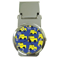 A Fun Cartoon Taxi Cab Tiling Pattern Money Clip Watches