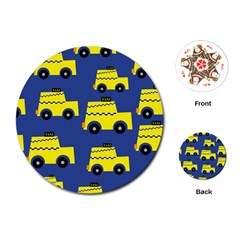 A Fun Cartoon Taxi Cab Tiling Pattern Playing Cards (round)