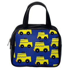 A Fun Cartoon Taxi Cab Tiling Pattern Classic Handbags (one Side)