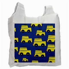 A Fun Cartoon Taxi Cab Tiling Pattern Recycle Bag (Two Side)