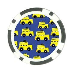 A Fun Cartoon Taxi Cab Tiling Pattern Poker Chip Card Guard (10 pack)