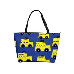 A Fun Cartoon Taxi Cab Tiling Pattern Shoulder Handbags