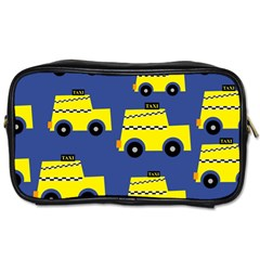 A Fun Cartoon Taxi Cab Tiling Pattern Toiletries Bags