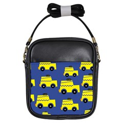 A Fun Cartoon Taxi Cab Tiling Pattern Girls Sling Bags