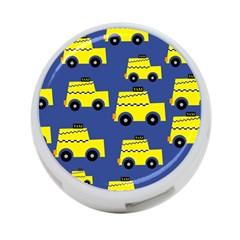 A Fun Cartoon Taxi Cab Tiling Pattern 4 Port Usb Hub (two Sides)