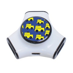 A Fun Cartoon Taxi Cab Tiling Pattern 3 Port Usb Hub
