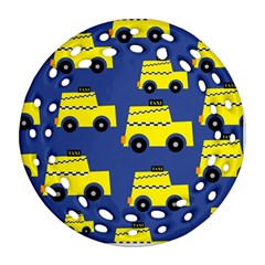 A Fun Cartoon Taxi Cab Tiling Pattern Round Filigree Ornament (Two Sides)