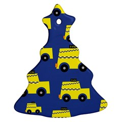 A Fun Cartoon Taxi Cab Tiling Pattern Christmas Tree Ornament (two Sides)