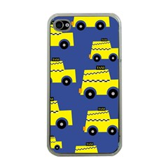 A Fun Cartoon Taxi Cab Tiling Pattern Apple iPhone 4 Case (Clear)